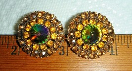 VTG RAINBOW CRYSTAL WATERMELON RIVOLI RHINESTONE NECKLACE CLIP EARRING S... - $267.99