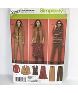 2287 Simplicity Sewing Pattern Womens Jacket Pants Skirt Vest Size 20W 2... - $7.47
