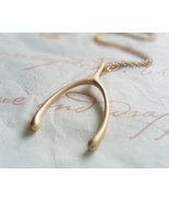 Matte Gold Large Wishbone Necklace - $52.00+