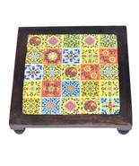 Rajasthani Design Hand painted Work Puja Chowki & Bajot Set of 3 Pcs Mul... - $78.95