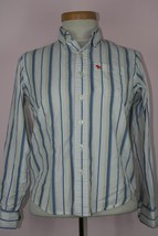 Abercrombie Boys Button Down Stripped Collard Shirt Sz Medium 100% Cotton - $5.54