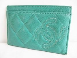 CHANEL CC Matelasse Pass Case Card Case Green - $311.85