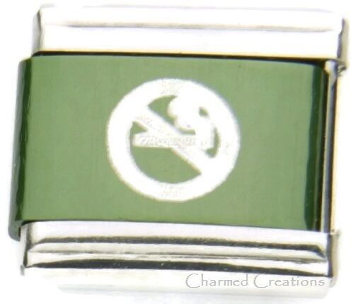 Primary image for No Smoking Symbol Green 9mm Italian Charm No Cigarettes Sublimation Laser Link