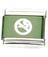 No Smoking Symbol Green 9mm Italian Charm No Cigarettes Sublimation Laser Link - $7.87