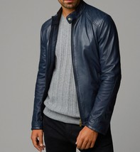 Mens Blue Bespoke Fashion Leather Jacket Real Cowhide Men Leather Jacket - $118.60+