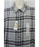 John Ashford Mens Casual Shirt Sz 4XB Silver Grey Plaid Long Sleeve Butt... - €22,72 EUR