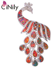 CiNily Created Orange Fire Opal Cubic Zirconia Silver Plated Wholesale P... - $46.93