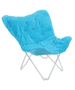 ALPHA HOME Saucer Moon Chair Butterfly Chair Soft Faux Fur Folding Chair... - $108.15
