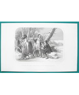 ROGER WILLIAMS Religious Leader Sheltered by Indians - 1856 Engraving Print - $8.96