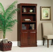 3 Shelf Book Case Adjustable 2 Door Tall Wood Bookcase Storage Cabinet O... - $180.00