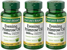 Evening Primose Oil 1000 mg, 3 Bottles (60 Count) - $57.28