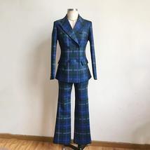 European Brand Runway Designer Blue Plaid Fashion Blazer Pant Suit Set image 6