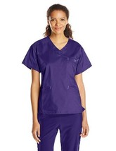 Med Couture Plum Purple 3XL EZ Flex Signature Classic V Neck Scrub Top 8... - $28.39