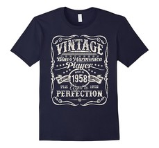 Vintage Blues Harmonica Player Made In 1958 T-Shirt Men - $17.95+