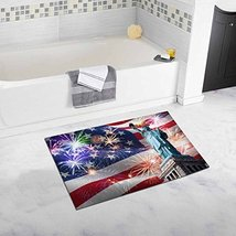 InterestPrint Statue Of Liberty with USA American Flag and Fireworks on Independ - $26.72