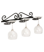 WALL MOUNT WINE GLASS HOLDER - Amish Hand Forged Wrought Iron 6 Glasses ... - $34.29