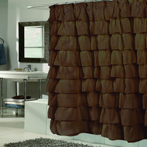 "Fabric Shower Curtain 70"" x 72"" Elegant Crushed Voile Ruffled Tier Brown - $26.99"