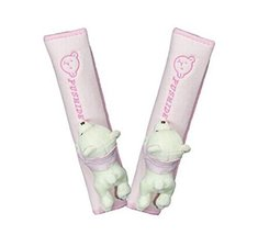 Hot Sale Bear Doll- Safe Car Soft Seat Belt Strap Cover, A Pair, Pink
