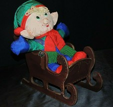Stuffed Elf and Sleigh AA20-7283 Vintage