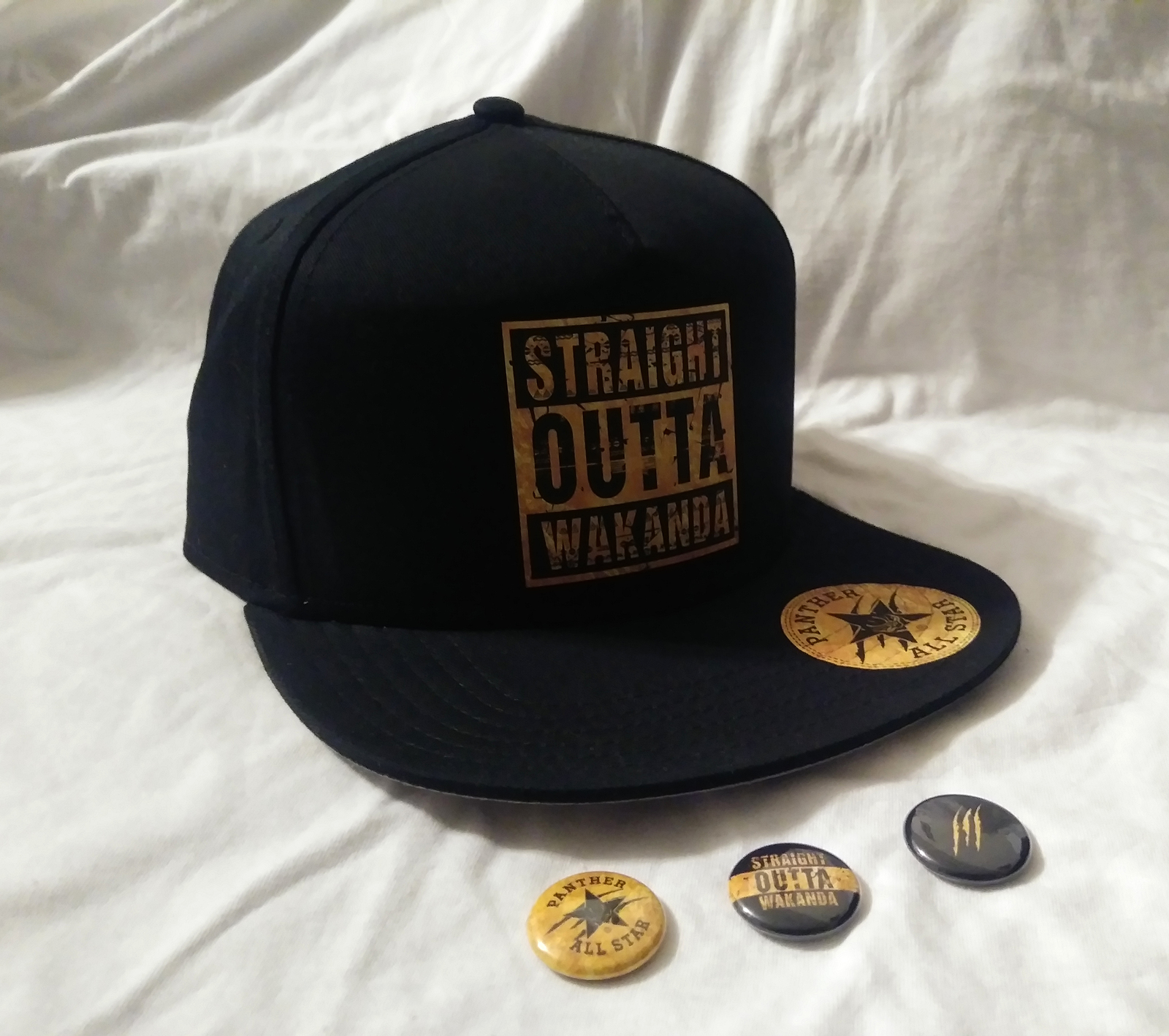 Black Panther Custom All Star Snap Back Cap Hat Straight Outta Wakanda King of