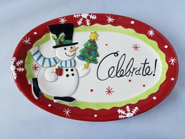 Fitz and Floyd Merry & Bright Christmas Sentiment Tray Snowman China Gif... - $18.53