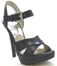 Women's Shoes Michael Kors Oksana Sandal Crisscross Sandals Heels Leather Black - $89.99