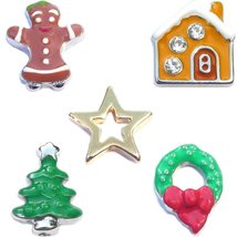 Merry Magic Christmas Holiday Charm Set for Floating Lockets - $5.89