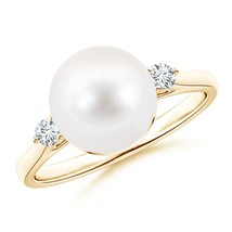 9mm Classic Freshwater Cultured Pearl Ring with Diamonds Gold/Silver - $273.42+