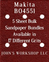 Makita BO4551 - 1/4 Sheet - 17 Grits - No-Slip - 5 Sandpaper Bulk Bundles - $7.14