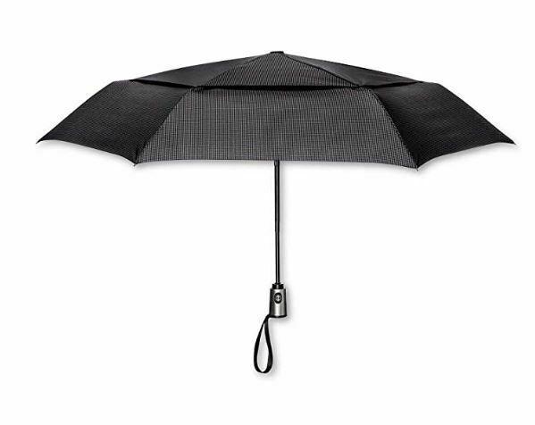 ShedRain Auto Open/Close Air Vent Compact Umbrella - Black Houndstooth