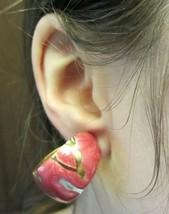 Vintage Modernist Pink Swirl Enamel Gold Tone Clip-On Earrings - $11.64