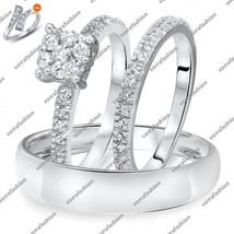Round Cut CZ Matching Wedding Ring Set White GP 925 Silver Free Shipping & Gift - $167.71