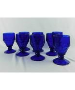 8 Vtg Viking Glass Cobalt Blue Georgian Honeycomb Stem Goblets Glasses 5... - $41.99