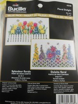 "Bucilla  Floral Delight Counted Cross Stitch Kit  Value Pack Set of 2   7"" x 5""  - $6.92"