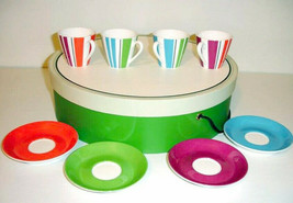 Kate Spade Collins Stripe Demitasse 4 Cups 4 Saucers Multi Color New In Hat Box - $76.90