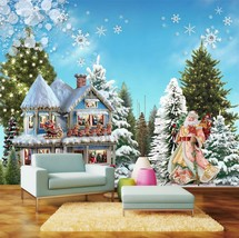 3D Christmas tree house star Wall Paper Print Decal Wall Deco Wall Indoor Murals - $28.46+