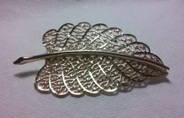 "Vintage Jewelry: 3""x1""6/8"" Gold Tone Leaf Brooch 2016051205 - $9.89"
