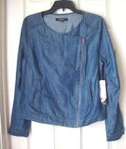 New Nine West Women Asymmetrical Zip Tencel Bomber Jacket Chambray Size S - $42.89