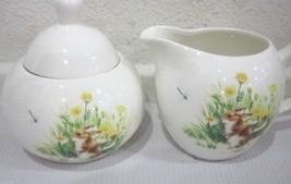 Grace's Teaware Easter Bunny Rabbit Creamer and Sugar Bowl Set 3pcs - $26.99