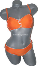 NWT TRINA TURK bandeau 10 swimsuit bikini orange 2 piece strapless buttons - $70.75
