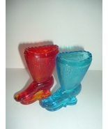 2 Glass Boots Amberina and Blue - $22.49