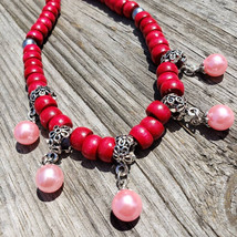 Red and pink necklace - $33.50