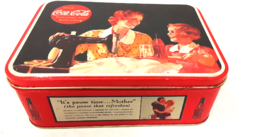 1992 Coca-Cola Coke Collectible Tin Box Mother Sewing The Pause That Ref... - $12.99