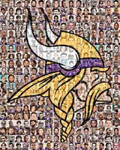 Minnesota Vikings Mosaic Print Art Designed Using Over 100 of the best V... - $42.00+