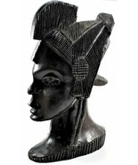 Vintage Wooden Hand Carved Tribal Man Bust Sculpture from Ebony/Ironwood... - $247.50