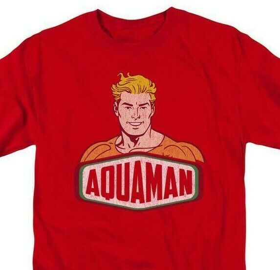 Aquaman Red T-shirt Super Friends retro superhero DC Comics graphic tee DCO625