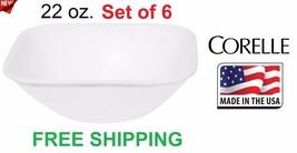 CORELLE Square 22 oz Ounce Soup, Salad, Cereal Bowl, Pure White, Set of 6 - $1.492,22 MXN