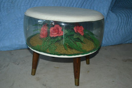Ottoman Footstool inflatable terrarium Roses tapered legs Mid Century re... - $118.69