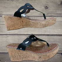 Sam Edelman Black Leather Wedges Sandals New In Box - $39.99