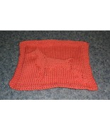 Brand New Hand Knit Doberman Pinscher Dog Orange Dish Cloth 4 Dog Rescue... - $10.39